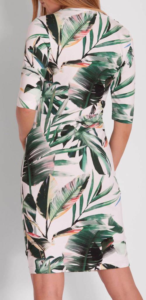 Bílo-zelené dámské šaty