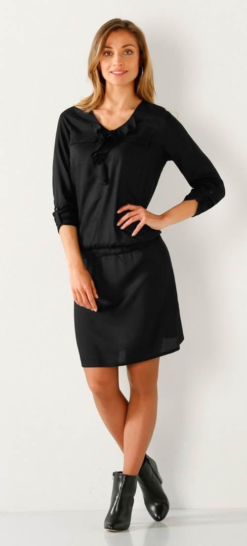 Černé dámské šaty s elastickou pásovkou