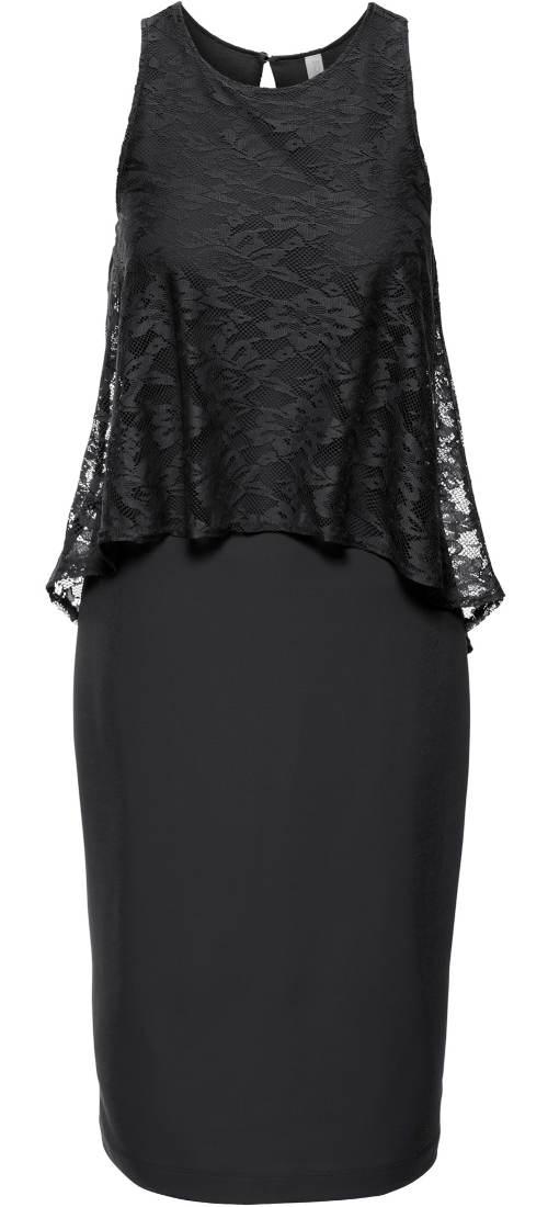 Černé krajkové midi šaty bez rukávů