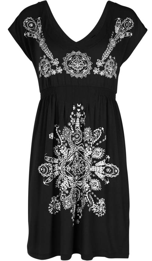 Černé plážové šaty s bílým potiskem