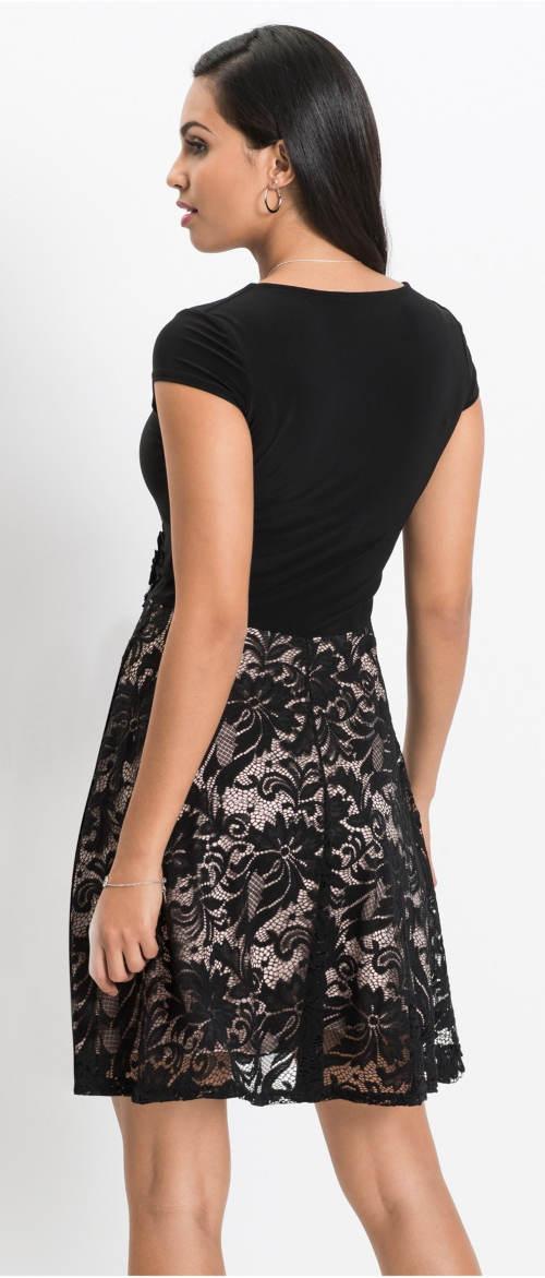 Černé šaty se sukní z květinové krajky