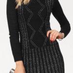 Černo-stříbrné svetrové dámské šaty