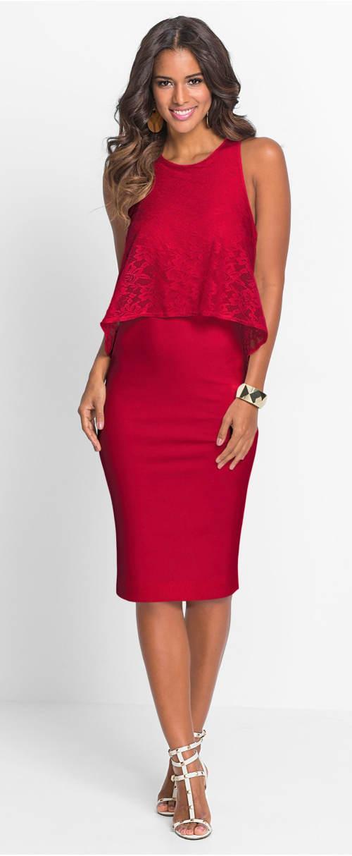 Červené plesové midi šaty s krajkou