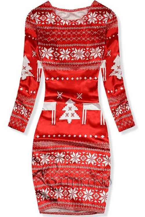 Červené vánoční dámské sametové šaty