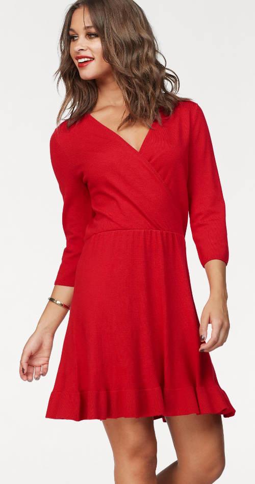 Červené zavinovací šaty s tříčtvrtečním rukávem