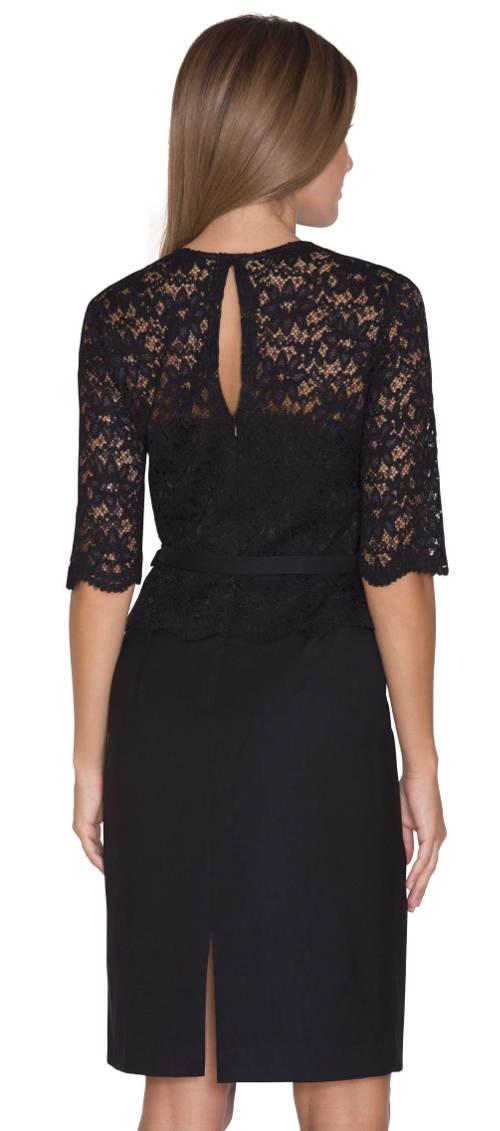 Dámské šaty imitující krajkovou halenku a černou sukni