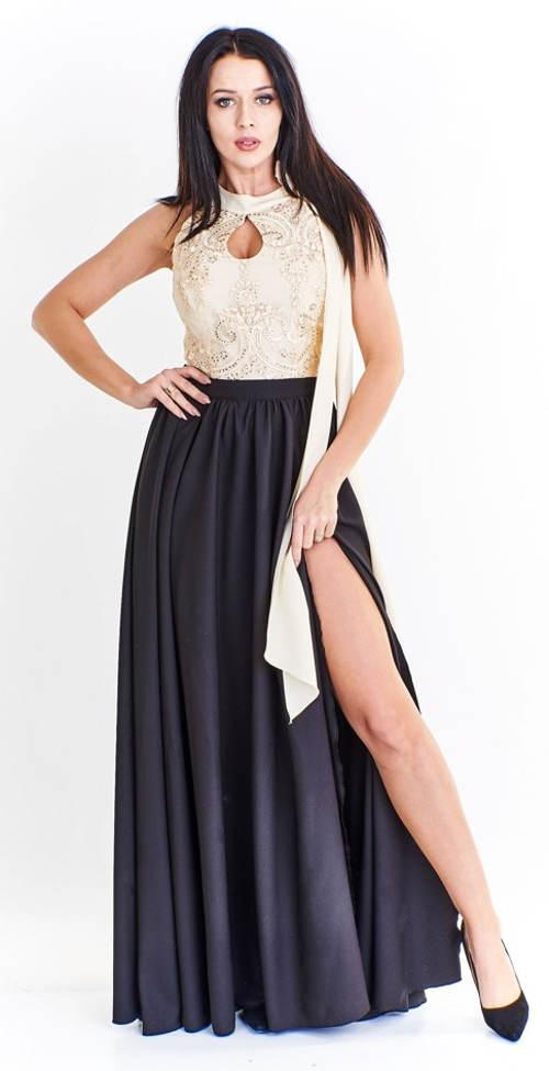 Dlouhé dámské šaty s korzetovým vrchem