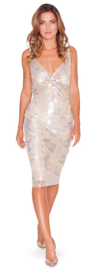 Elegantní metalické šaty Pietro Filipi s hlubokým výstřihem