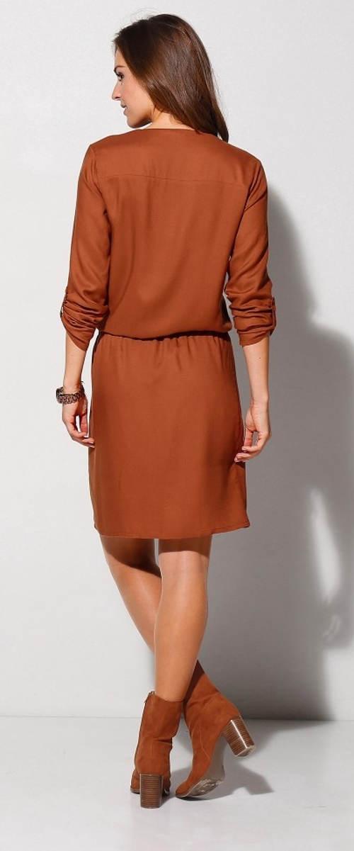 Hnědé dámské šaty s vykasanými rukávy