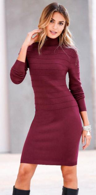 Hřejivé pletené šaty s rolákovým límcem