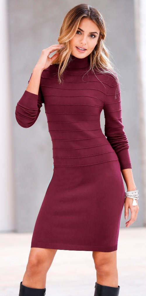 Hřejivé pletené šaty s rolákovým límcem 2ce062c2b6