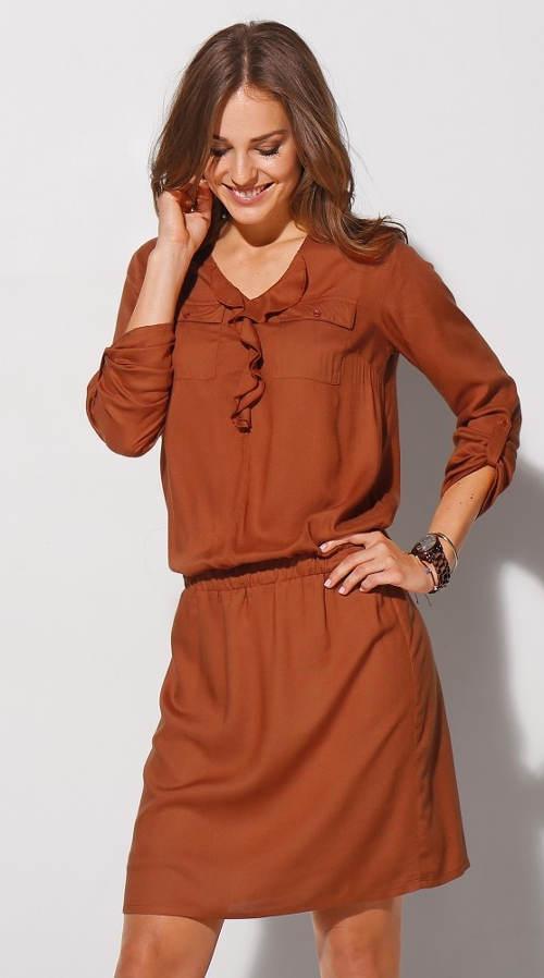 Jednobarevné dámské šaty do kanceláře