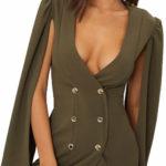 Khaki krátké blejzrové šaty s pelerínovými rukávy