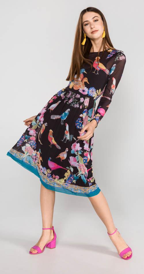 Lehké midi šaty Desigual s potiskem ptáků