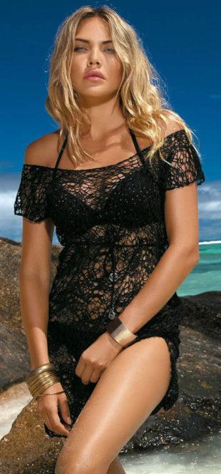 Lehounké plážové šaty s velkými oky