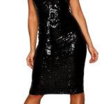 Lesklé černé koktejlové šaty s flitry