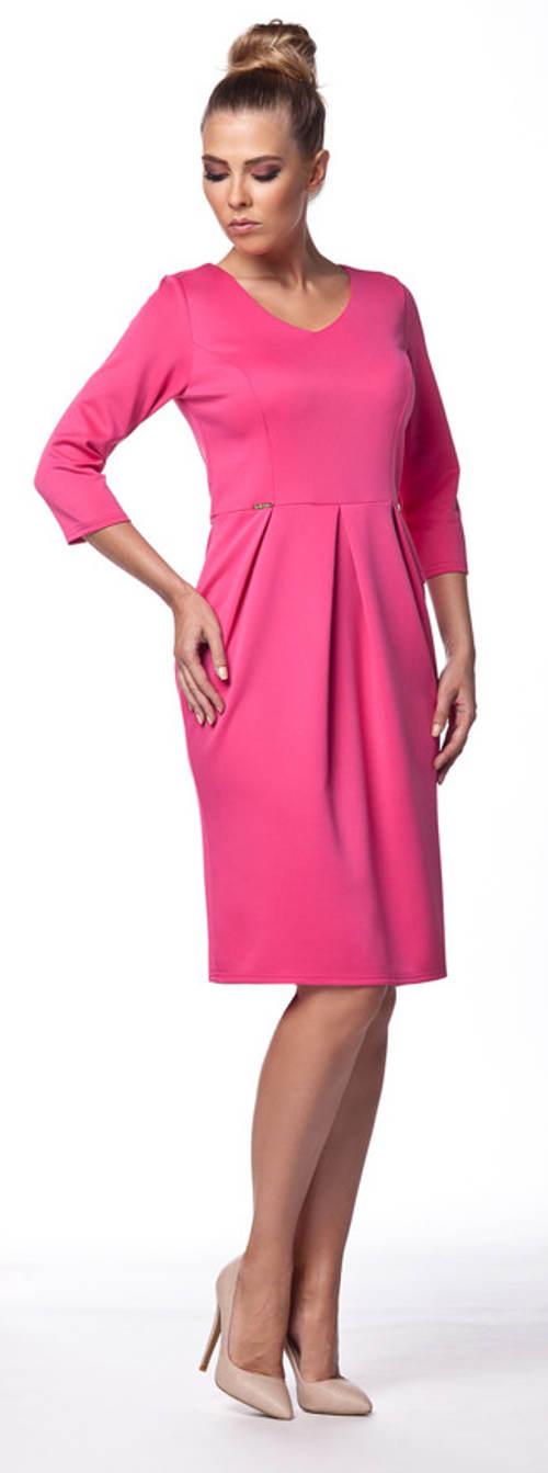 Levné růžové pouzdrové šaty
