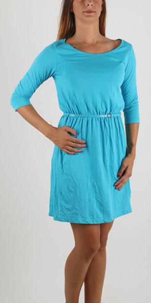 Mačkané modré šaty s drobným páskem