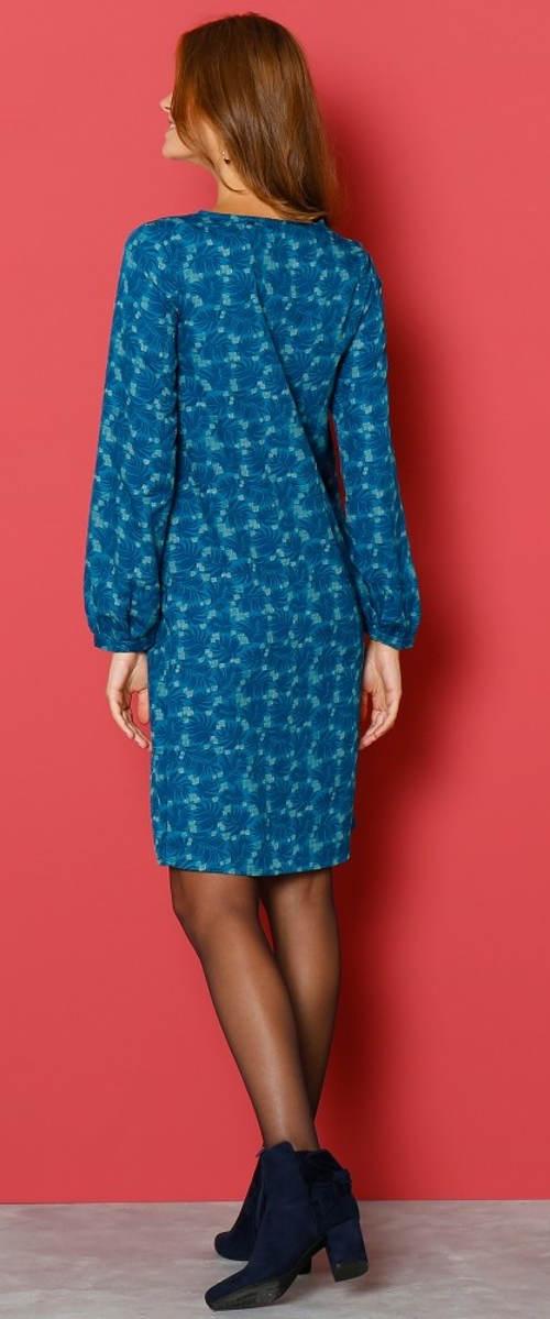 Modré dámské šaty s dlouhými rukávy
