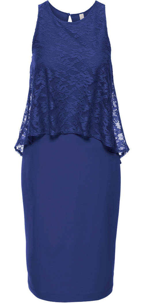 Modré dámské šaty s krajkovým topem