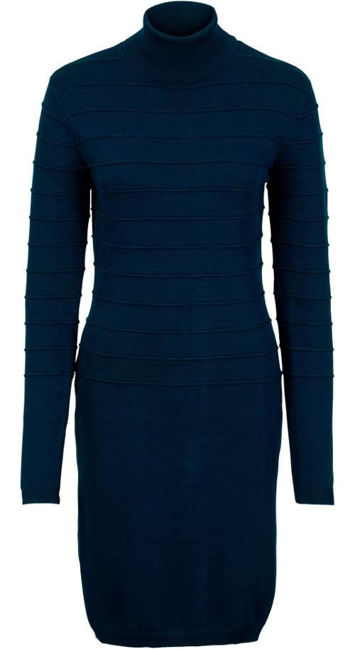 Modré zimní šaty s roláčkem