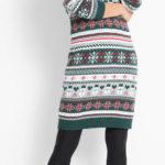 Pletené dámské šaty se zimním motivem