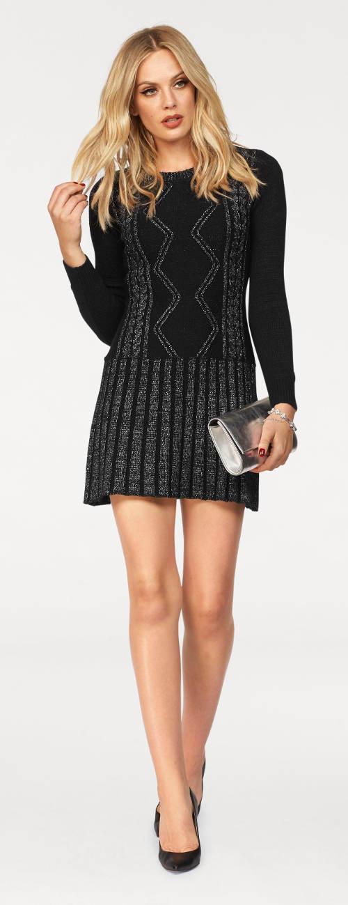 Pletené šaty s geometrickým vzorem