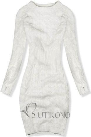 Pletené ecru šaty vhodné pro zimní období