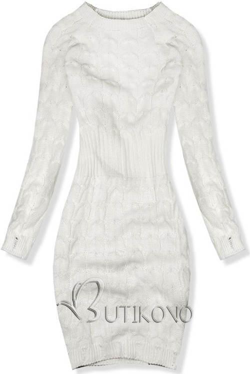 e034b6940890 Pletené ecru šaty vhodné pro zimní období