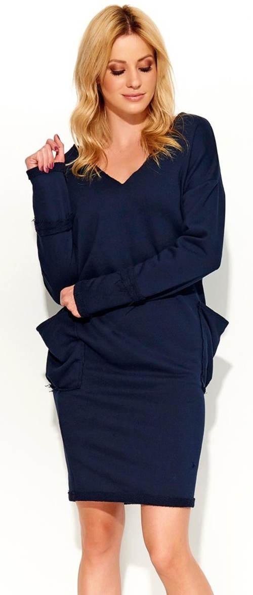 Pohodlné modré šaty s dlouhým rukávem