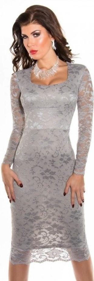 68d2337f01d Šedé krajkové šaty s dlouhým rukávem Koucla
