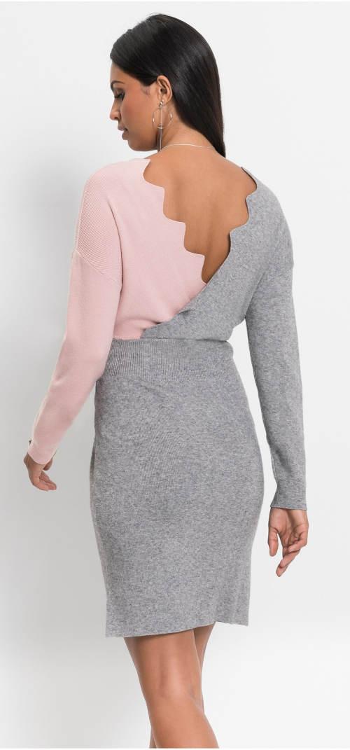 Šedo-růžové šaty z teplého úpletu