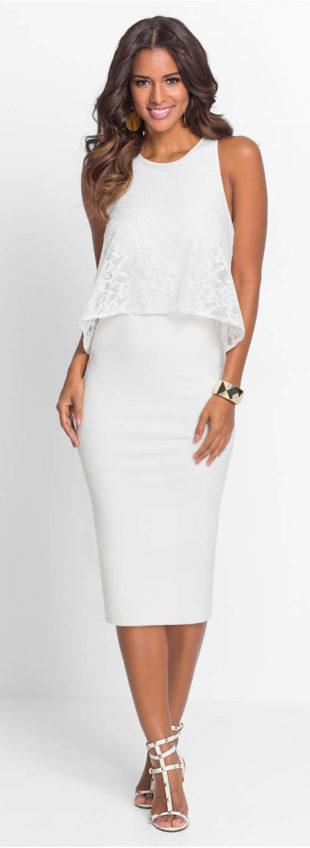 Slavnostní jednobarevné šaty s krajkovým topem