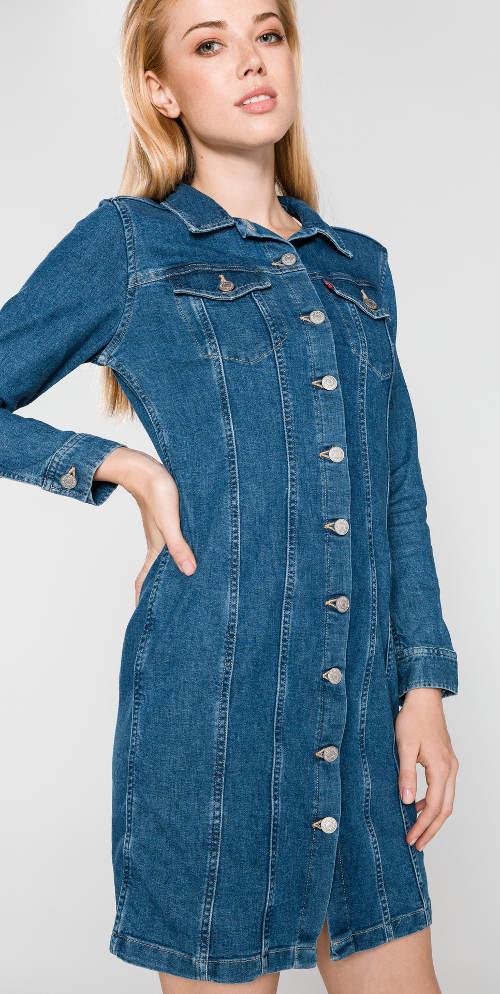 Tmavě modré džínové šaty