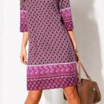 Výprodejové šaty rovného střihu s 3/4 rukávy