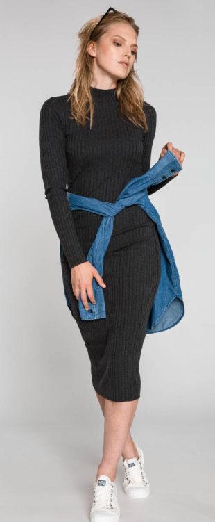 Žebrované casual pletené šaty zima 2018
