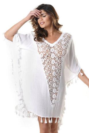 Bílé plážové šaty s průhlednou krajkou na předním díle
