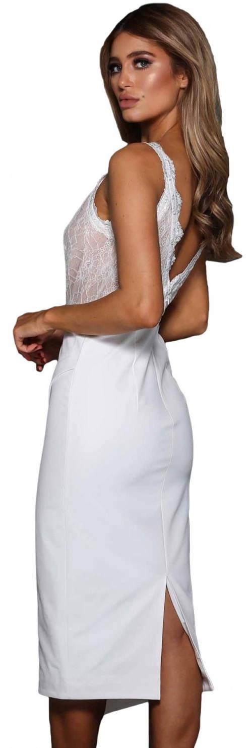 Bílé plesové šaty s krajkovým topem