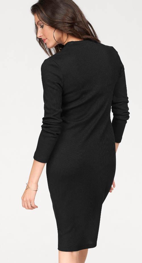 Černé dámské šaty z elastického úpletu