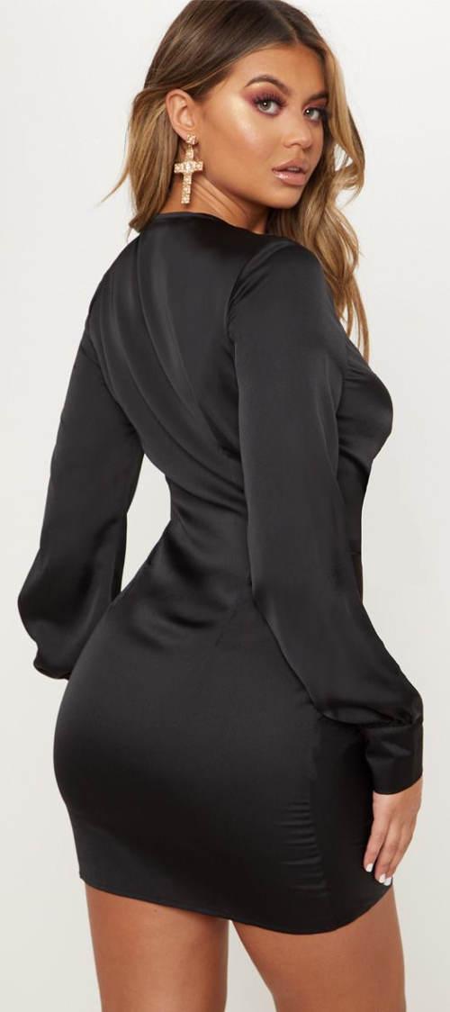 Černé mini šaty s dlouhým rukávem