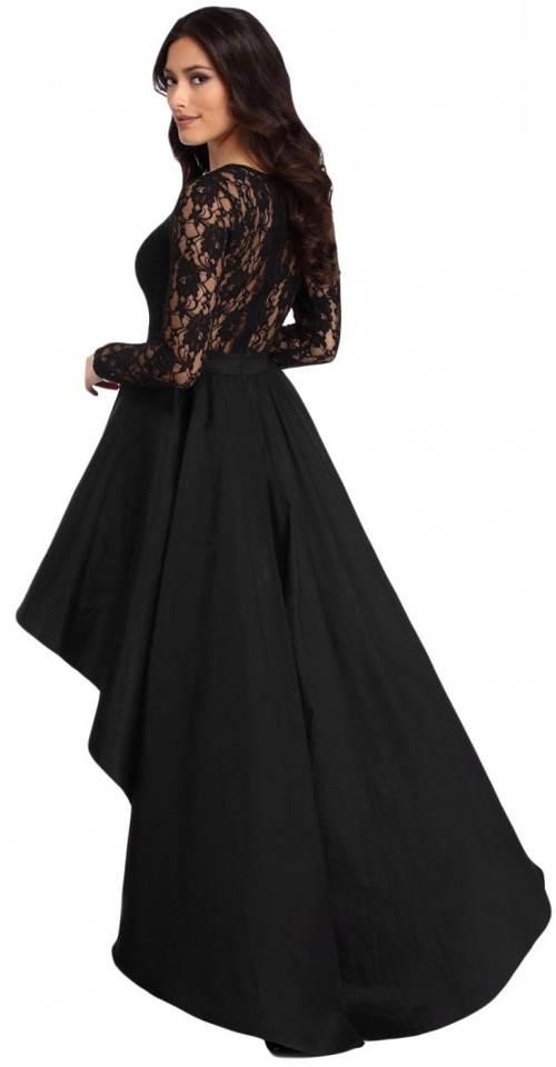 Černé plesové šaty s dlouhou volánovou sukní