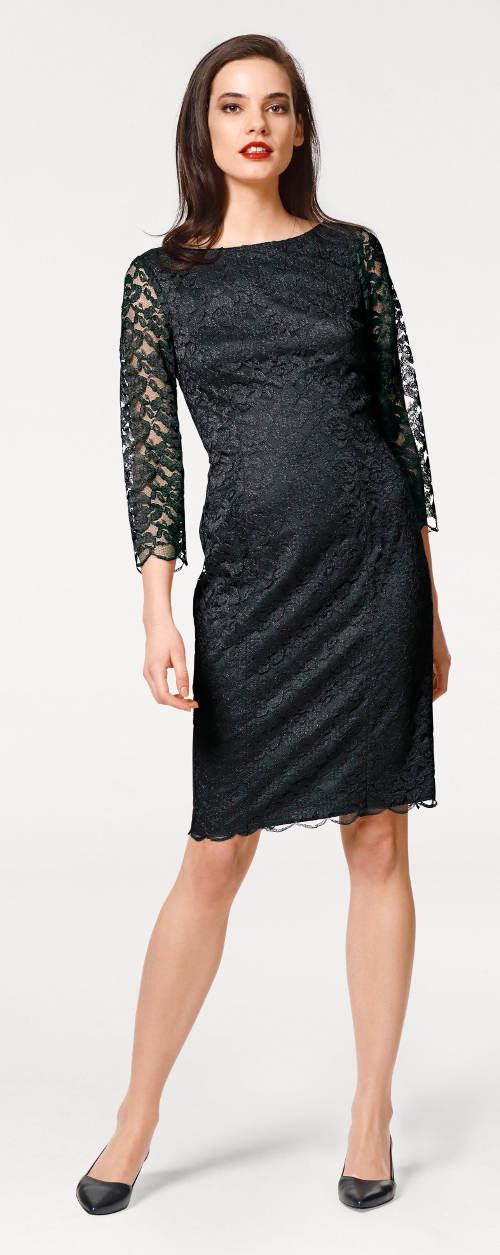 9eed1739e5a Černé šaty s krajkovými třičtvrtečními rukávy