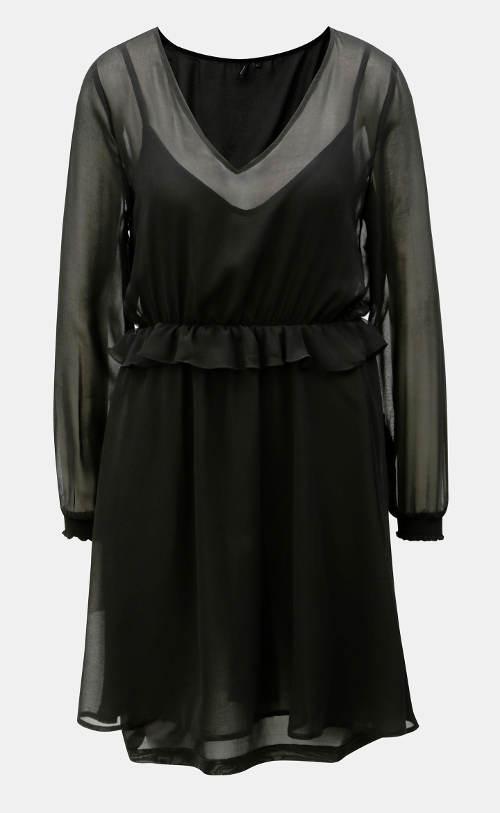Černé šaty s šifónovým volánem
