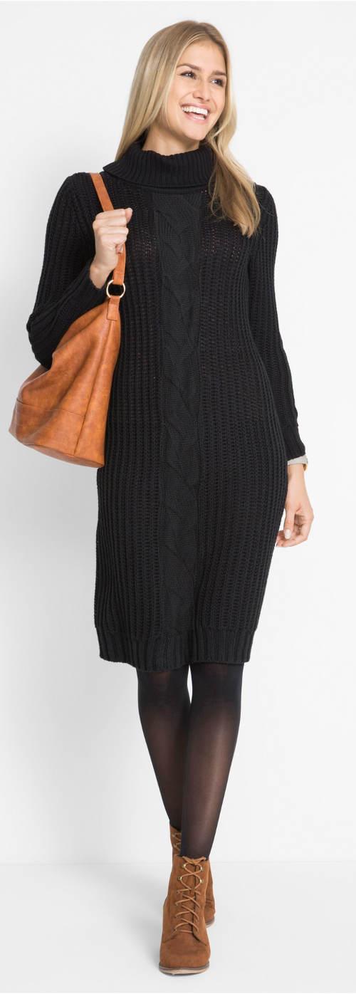 Černé teplé svetrové šaty