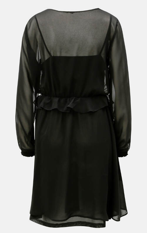 Černé večerní šaty s volánem v pase
