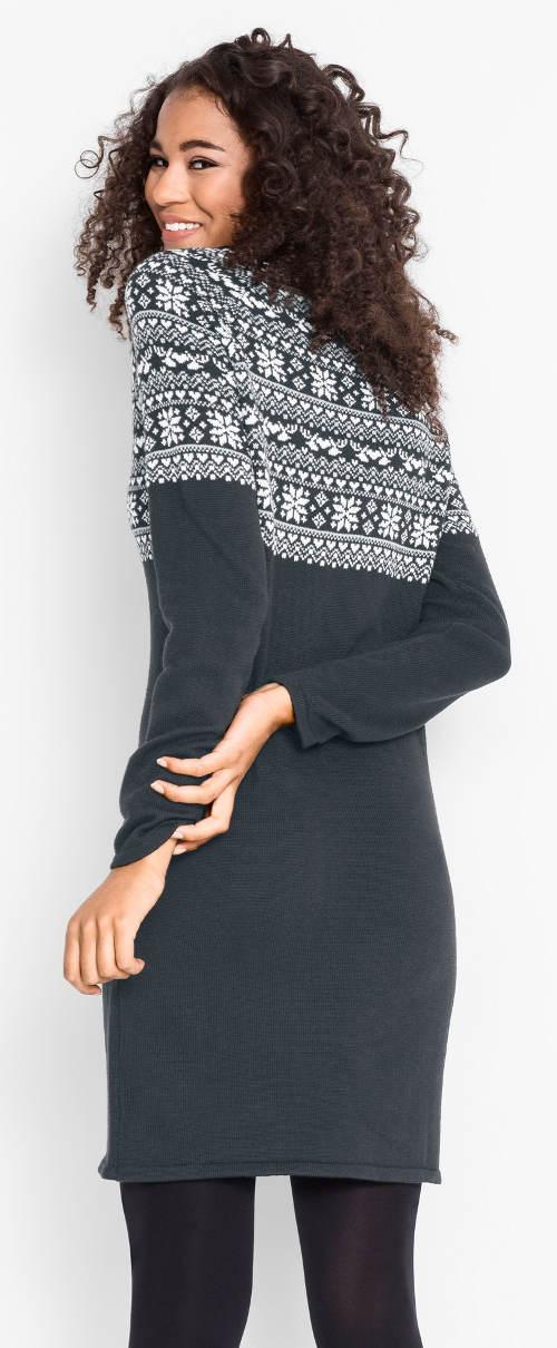Černobílé úpletové zimní šaty