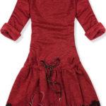 Červené zimní krátké šaty s krajkou