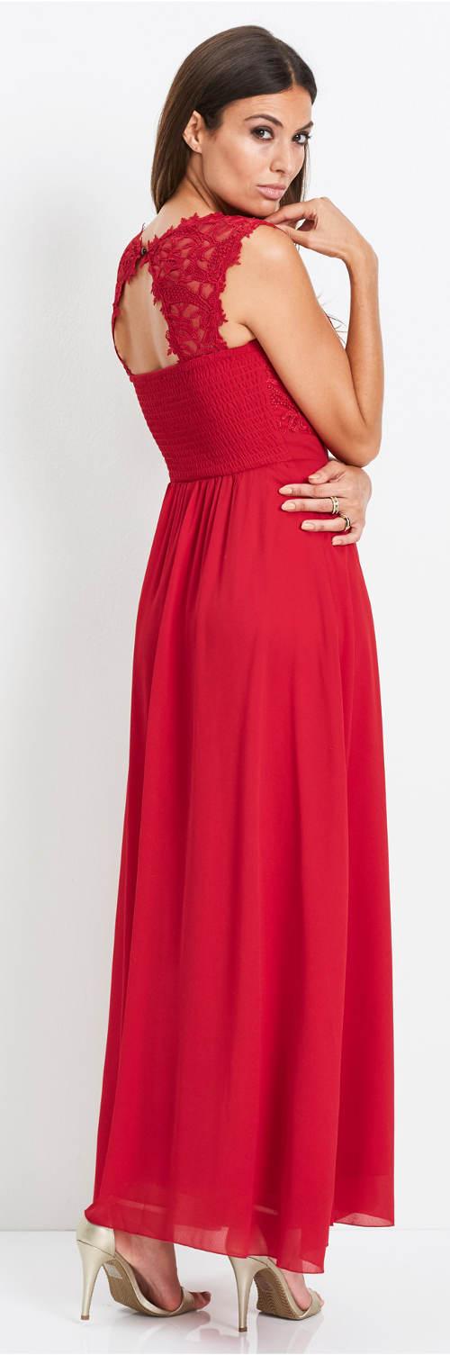 Dlouhé červené plesové šaty s krajkou
