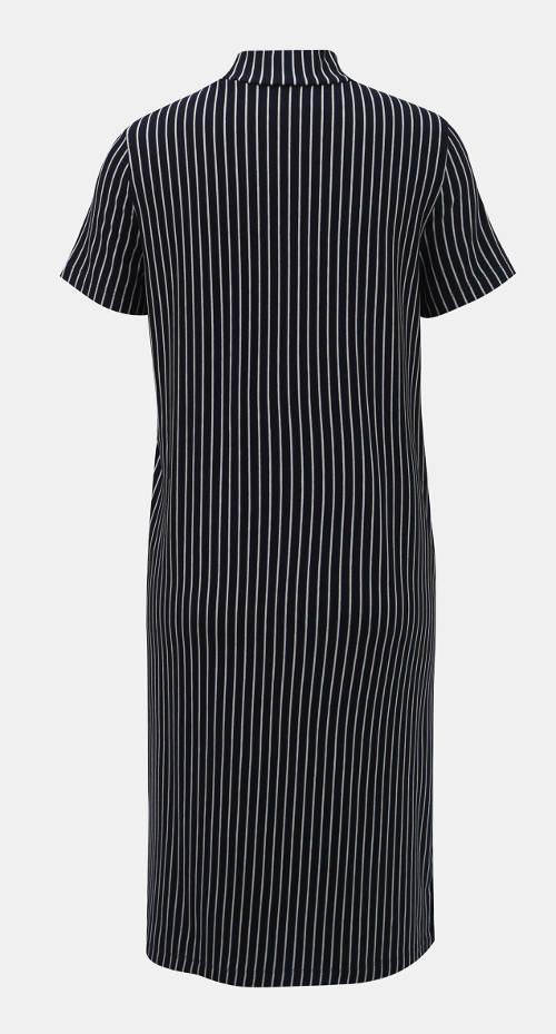 Dlouhé pruhované dámské šaty s krátkým rukávem