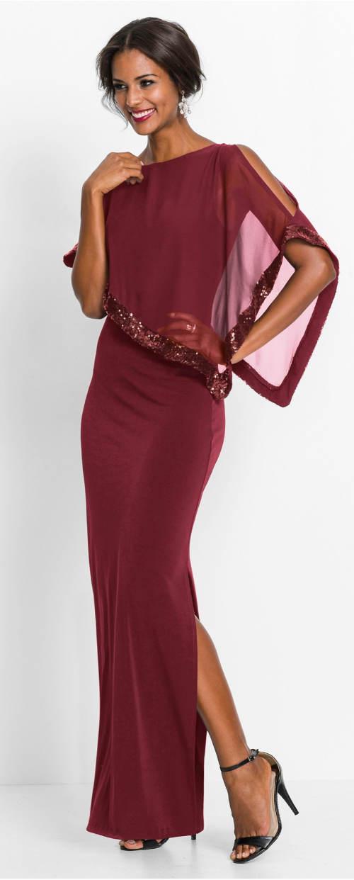 Dlouhé vínové plesové šaty